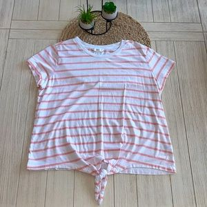 1901 pink & white striped t-shirt size large EUC